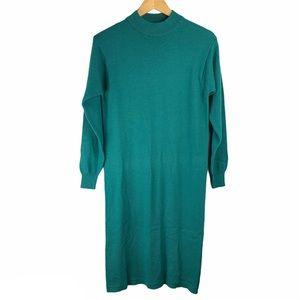 Vintage Laura Ashley Green Long Sleeve Wool Dress